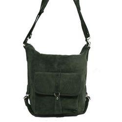 ff5bda781fbb3 Shopper bag zamszowy 2w1 zielony marki Milskór