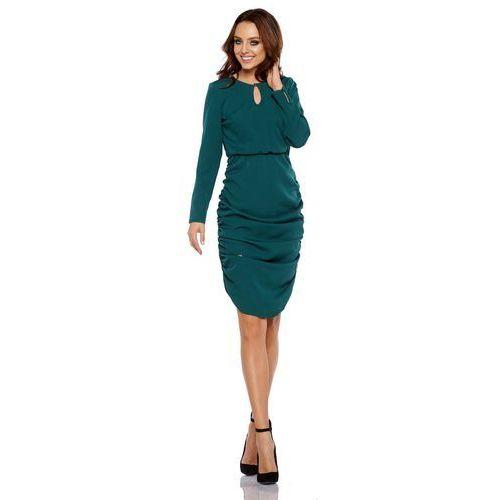 f7aca42170 Ciemno Zielona Wizytowa Sukienka z Marszczeniami na Bokach