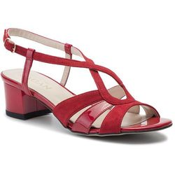 e96f4b0db3bbc Sandały - 3221 czerwony welur/czerwony lakier marki Sagan