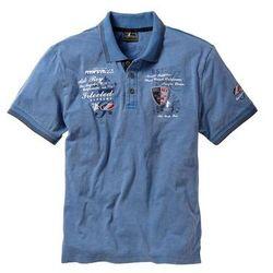 Shirt polo z efektownym zdobieniem bonprix niebieski dżins, bawełna