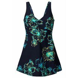 Sukienka kąpielowa shape level 3 ciemnoniebiesko-turkusowo-żółty z nadrukiem, Bonprix