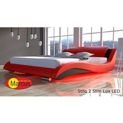 Nowoczesne łóżko tapicerowane STILO 2 LUX SLIM LED RGB - skóra ekologiczna