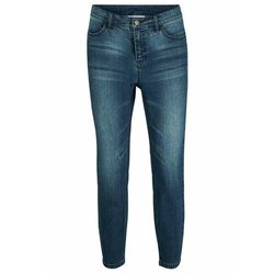 """Spodnie ze stretchem 7/8 (2 pary) bonprix niebieski """"stone"""" + czarny"""