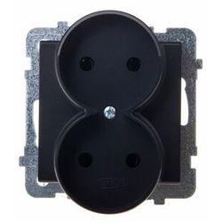 Gniazdo podwójne b/u IP20 16/250, czarny metalik GP-2RR/m/33 OSPEL SONATA
