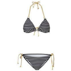 Bikini z trójkątnymi miseczkami (2 części) bonprix czarno-biało-złoty