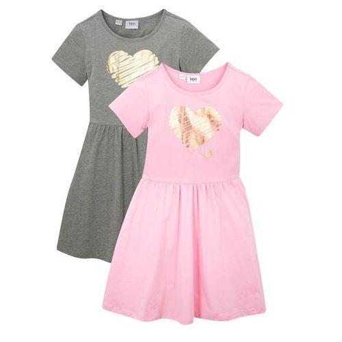 Sukienki dziecięce, Sukienka dziewczęca z dżerseju, krótki rękaw (2 szt.) bonprix pudrowy jasnoróżowy + jasnoszary melanż