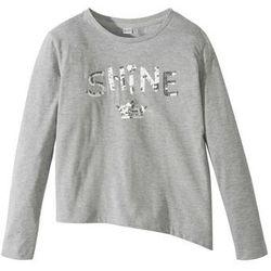 Shirt z cekinami i asymetrycznym dołem bonprix jasnoszary melanż