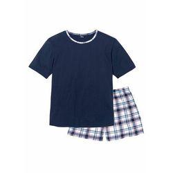 Piżama z krótkimi spodniami bonprix ciemnoniebieski w kratę