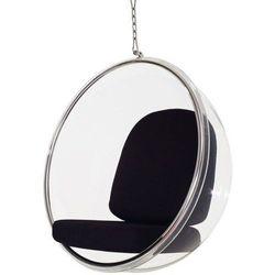 Fotel Bańka transparent/czarna poduszka