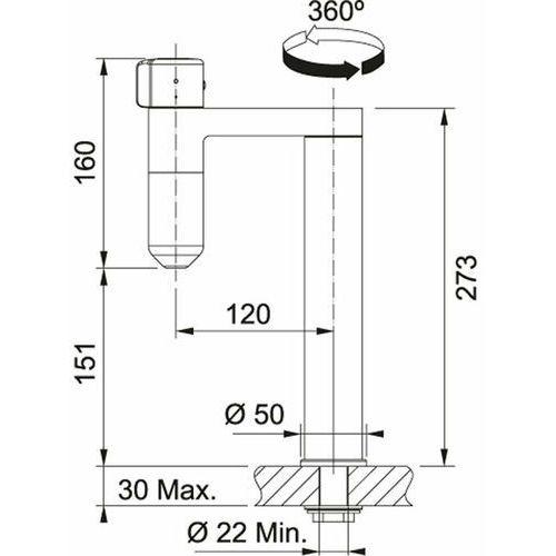 Baterie do kuchni, Bateria Franke Vital 120.0551.220