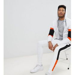 ASOS TALL Tracksuit Zip Up Hoodie With Colour Blocking/ Super Skinny Jogger - White