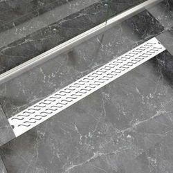 vidaXL Kratka odpływowa, liniowa, 1030x140 mm, wzór fali, stal nierdzewna Darmowa wysyłka i zwroty