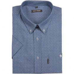 Niebieska koszula męska Aldo Vrandi z białym, drobnym nadrukiem - krótki rękaw