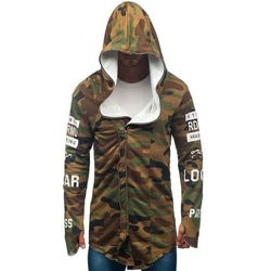 Bluza męska z kapturem z nadrukiem moro-khaki Denley 0796-1