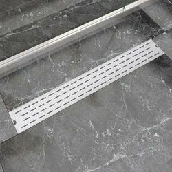 vidaXL Kratka odpływowa, liniowa, 830x140 mm, wzór linii, stal nierdzewna Darmowa wysyłka i zwroty