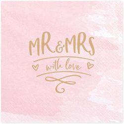 """Serwetki """"Mr & Mrs"""", różowe, PartyDeco, 33 cm, 20 szt"""