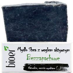Mydło z masłem Shea i węglem aktywnym - Bezzapachowe - 130g - marki Bioer