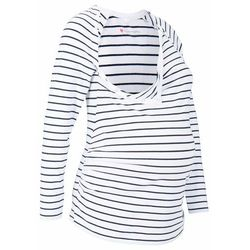 Shirt ciążowy i do karmienia piersią, z napami bonprix biało-ciemnoniebieski w paski