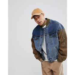 ASOS Denim Jacket With Bomber Sleeves In Blue Wash - Blue