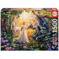 Puzzle, Puzzle 1500 elementów Smok, księżniczka i jednorożec