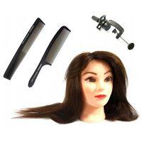 Pozostałe salony fryzjerskie i kosmetyczne, Główka Fryzjerska Treningowa Ela Włos Naturalny 55cm + Uchwyt
