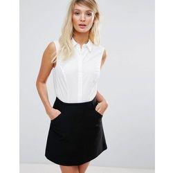 ASOS DESIGN fuller bust sleeveless shirt in stretch cotton - White