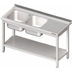 Stół ze zlewem dwukomorowym z lewej strony z półką 1700x700x850 mm | STALGAST, 980847170