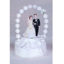 Stroik na tort weselny wstążka biały mała para