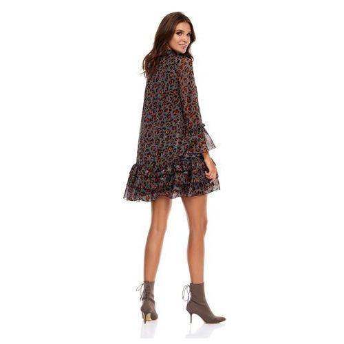 Suknie i sukienki, Sukienka Janell ciemnoszara w panterkę