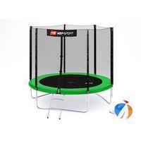 Trampoliny, Trampolina 8ft (244cm) z siatką zewnętrzną Hop-Sport - 3 nogi - zielony \ 8ft (244cm)