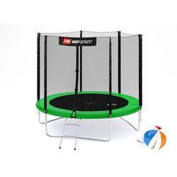 Trampolina 8ft (244cm) z siatką zewnętrzną Hop-Sport - 3 nogi - zielony \ 8ft (244cm)
