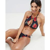 Stroje kąpielowe, Y.A.S Floral Printed High Neck Bikini Top - Multi