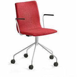 Krzesło konferencyjne OTTAWA, na kółkach, podłokietniki, czerwona tkanina, biały
