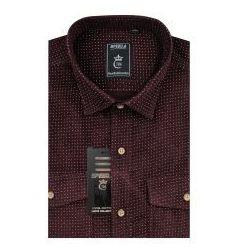 Koszula Męska Speed.A sztruksowa bordowa we wzory na długi rękaw D922