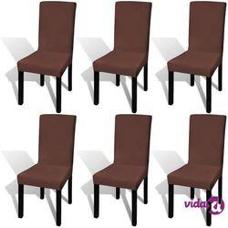 vidaXL Elastyczne pokrowce na krzesła, 6 szt., brązowe Darmowa wysyłka i zwroty