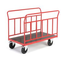 Wózki widłowe i paletowe, Wózek platformowy, 2 ramy, 400 kg, 700x1200 mm, z hamulcami