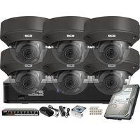 Kamery przemysłowe, Monitoring wideo audio kasy stacji paliw sklepu BCS Point Rejestrator IP 6x Kamera BCS-P-242R3WSA-G Akcesoria