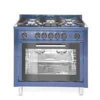 Piece i płyty grzejne gastronomiczne, Hendi Kuchnia gazowa 5-palnikowa z konwekcyjnym piekarnikiem elektrycznym i z grillem | niebieska - kod Product ID