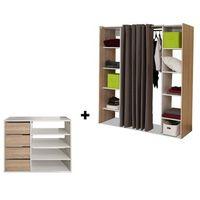 Garderoby i szafy, Zestaw garderoba + mebel do przechowywania EMERIC - Dąb i ciemnoszary
