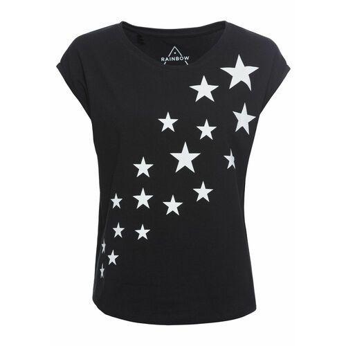 Bluzki, Shirt z nadrukiem w gwiazdy bonprix czarny z nadrukiem