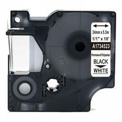 Taśma DYMO Rhino 1734523 poliestrowa 24mm x 5.5m biała czarny nadruk - zamiennik