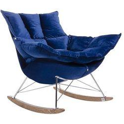 Fotel do odpoczynku SWING VELVET ciemny niebieski - tapicerka welurowa, stal chromowana, drewno dębowe