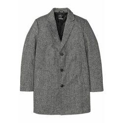 Krótki płaszcz z wykładanym kołnierzem bonprix czarno-biały melanż