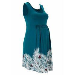 Sukienka ciążowa LENZING™ ECOVERO™ bonprix niebieskozielony morski z nadrukiem