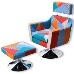 vidaXL patchworkowy fotel do oglądania TV z podnóżkiem Darmowa wysyłka i zwroty