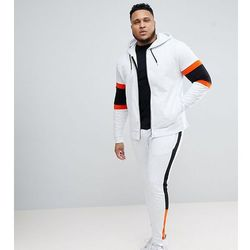 ASOS PLUS Tracksuit Zip Up Hoodie With Colour Blocking/ Super Skinny Jogger - White