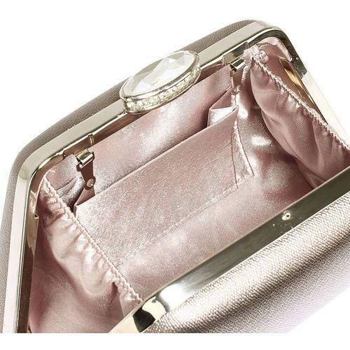 Torebki, Stalowa gładka torebka wizytowa z kryształowym zamknięciem - szary
