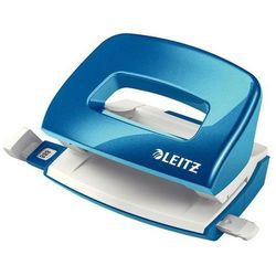 LEITZ Dziurkacz mini WOW metalowy do 10 kartek, niebieski metalik