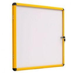 Gablota z białą magnetyczną powierzchnią, żółta ramka, 720x981 mm (9xA4)