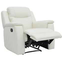 Skórzany fotel z funkcją relaks EVASION - biały kość słoniowa